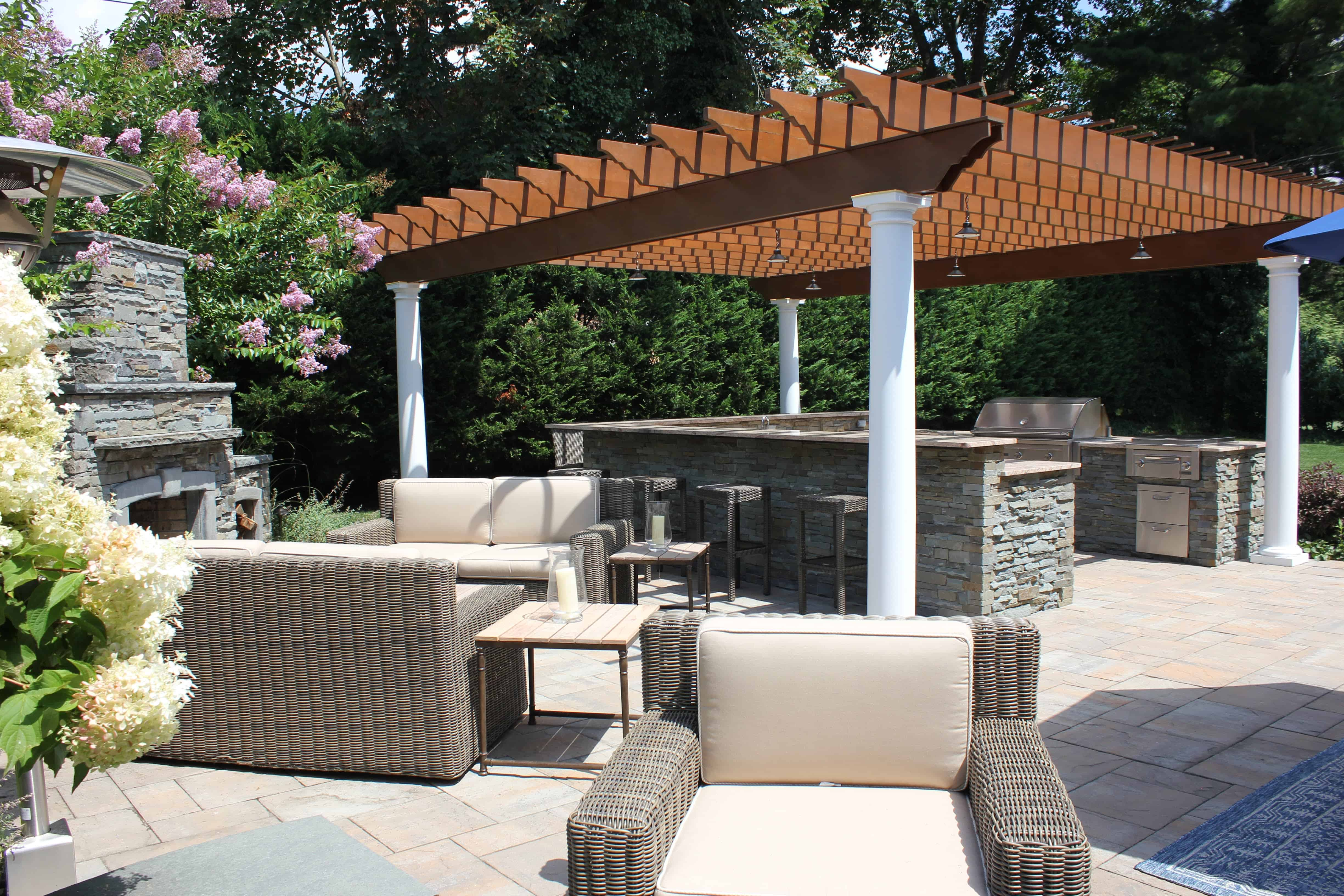Custom Pergola with LED Lighting - Roslyn Heights, Long Island NY