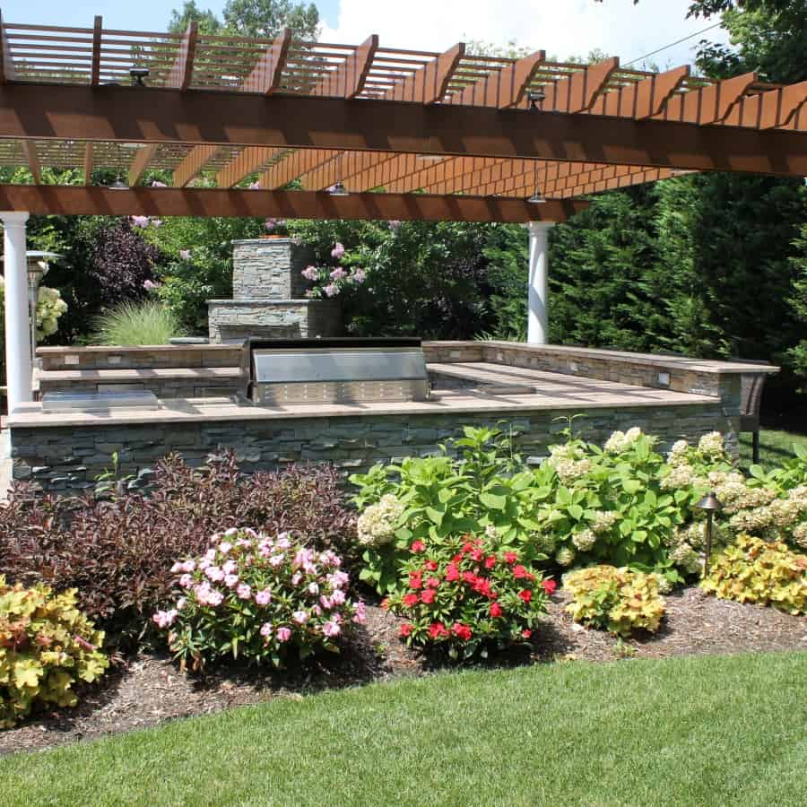 Pergola with LED Lighting with Planting- Roslyn Heights, Long Island NY