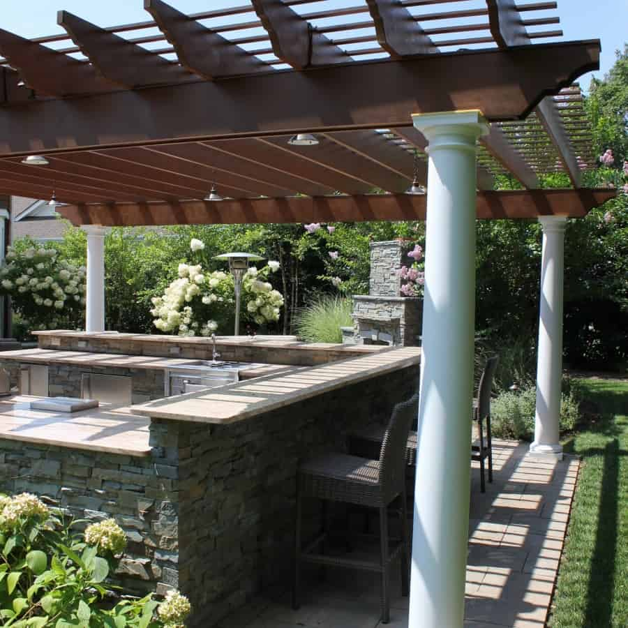 Pergola with LED Lighting - Roslyn Heights, Long Island NY