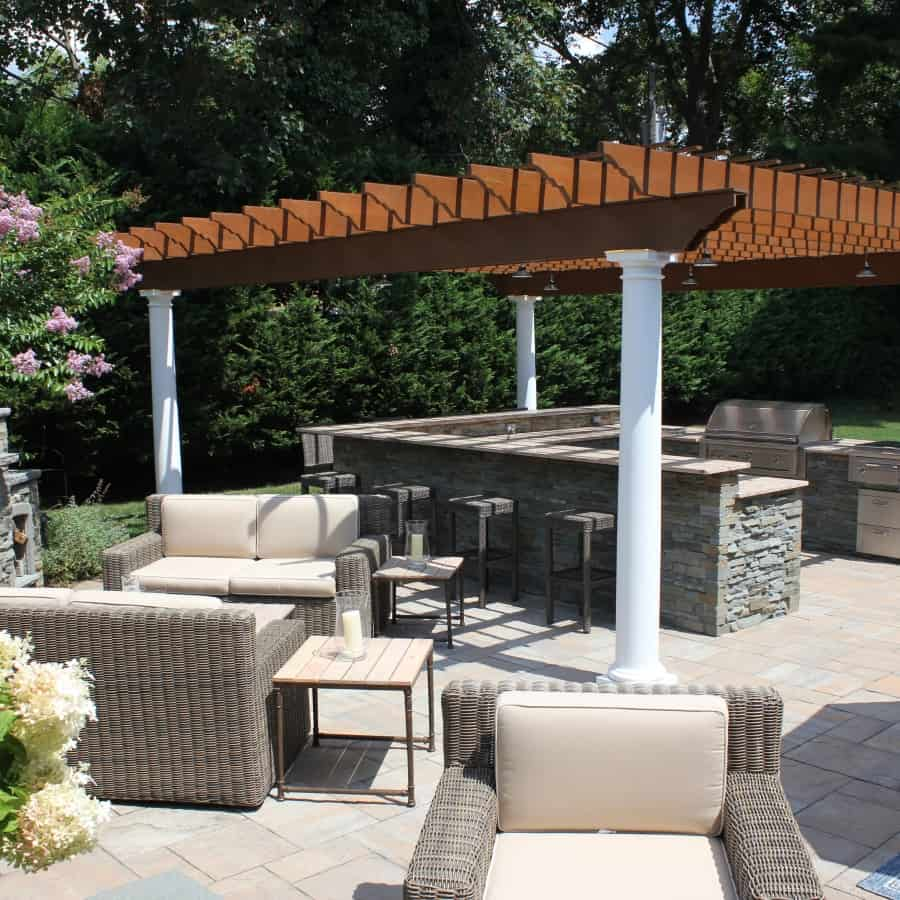 Bi- level Outdoor Kitchen and Bar with Pergola - Roslyn Heights, Long Island NY