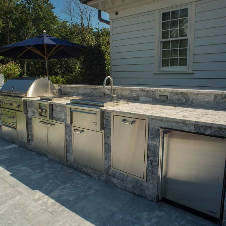 Outdoor Kitchen and Bar veneered with Marmiro Stone - Deep Blue - Plandome Manor, Long Island NY